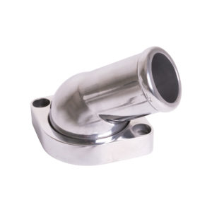 Polished Aluminum GM LS Water Neck – 45° Swivel