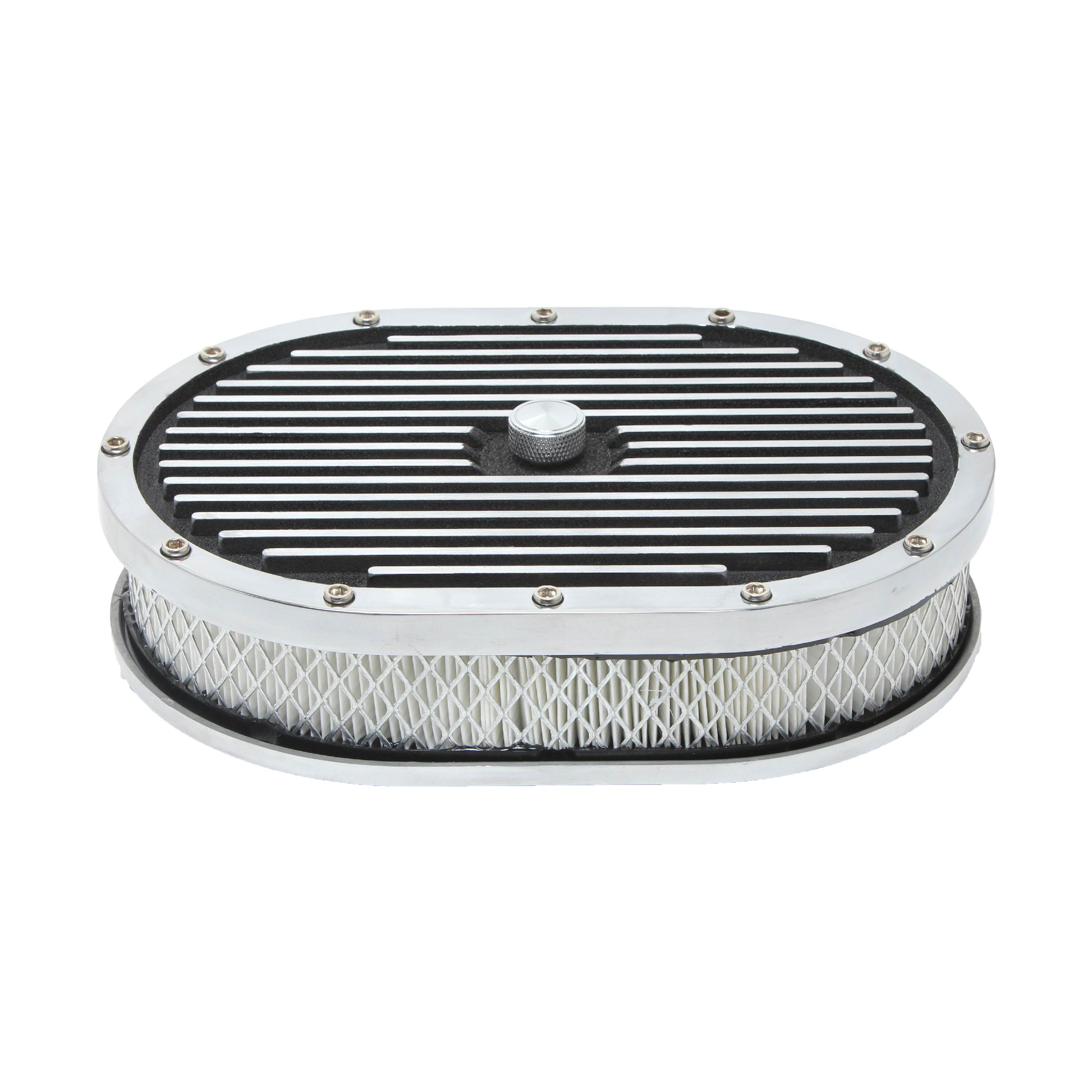"""Washable 15/"""" Oval Ball-Milled Aluminum Air Cleaner Filter Hot Street Rod Chevy"""