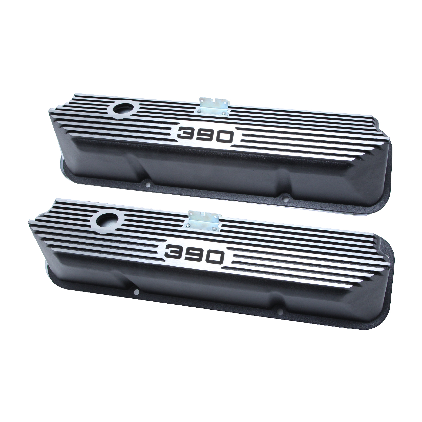 BBF FE Tall Finned Aluminum Valve Covers With CID Logo - Baffled