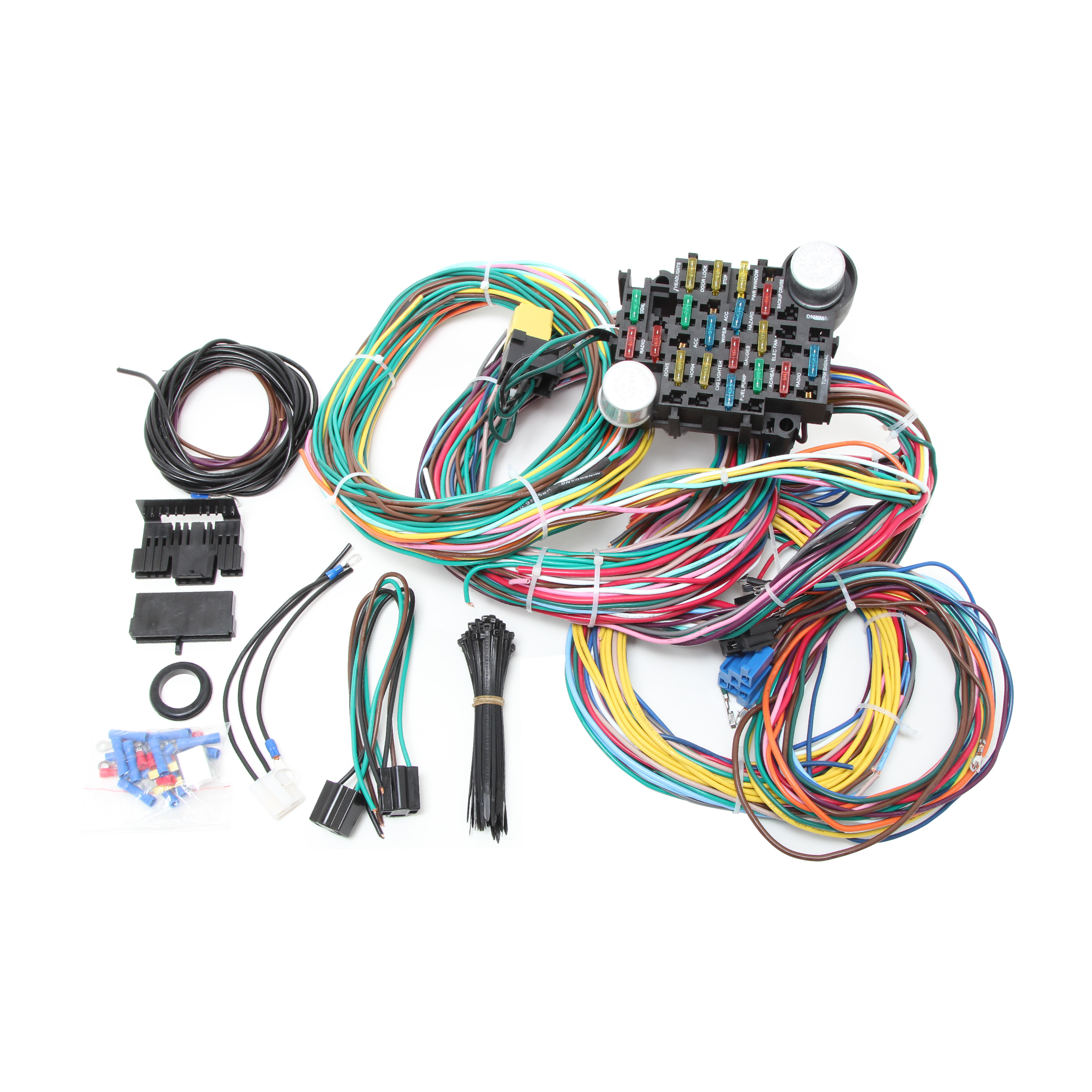 Universal Wiring Harness Kit - Owner Manual & Wiring Diagram on wire fire, wire electrical, wire code, wire copper, wire metal, wire car, wire machine, wire way, wire light, wire lighting, wire resistance, wire track, wire graphic, wire coil, wire cross, wire design, wire ring, wire harness drawing, wire generator to breaker box, wire switch,